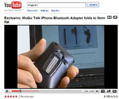 Hier klicken um das Video zum MoGo Talk Bluetooth Headset für iPhone 3G + 3GS auf YouTube abzuspielen.